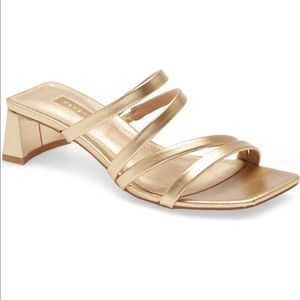 Topshop 'Dixie' Gold Strappy Sandal